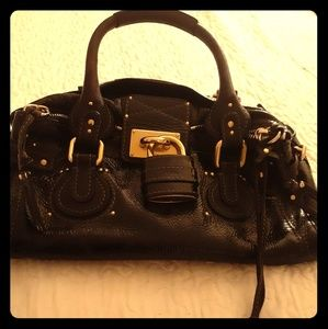 Chloe paddington black patent leather purse